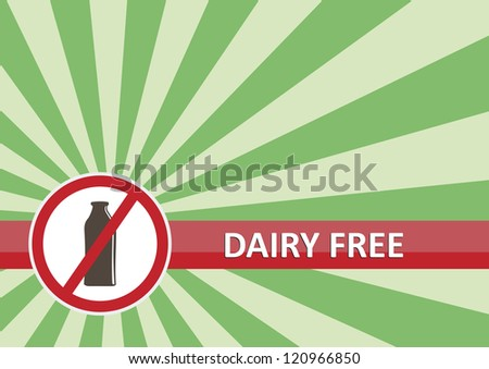 Dairy free banner for food allergy concept