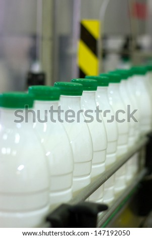 Dairy Plant. Conveyor with milk  bottles. - stock photo
