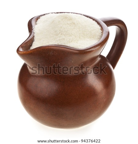 dairy product , milk powder drink in clay pitcher Isolated on white background - stock photo