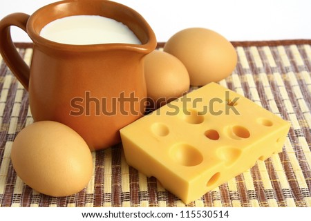 Dairy products and eggs. - stock photo