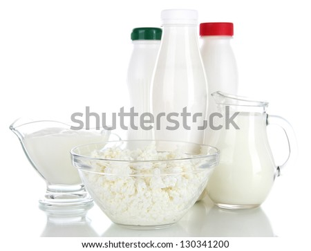 Dairy products isolated on white - stock photo