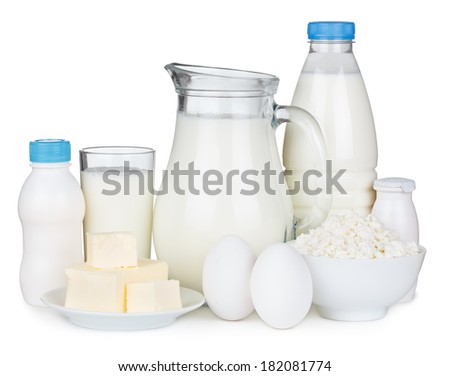 Dairy products isolated on white background - stock photo