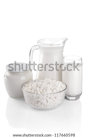 Dairy products on a white background: cheese, milk, sour cream. File contains a path to cut. - stock photo