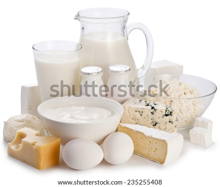 Dairy products on a white background. Clipping path. - stock photo