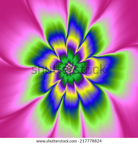 Daisies in Daisies /  A digital abstract fractal image with a infinite daisy flower design in pink, blue, green, violet and yellow.