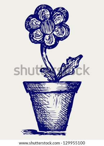 Daisies in pots. Doodle style. Raster version - stock photo