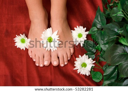 Daisies on a woman's feet