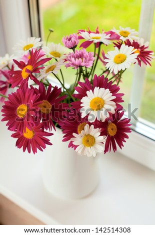 daisies on windowsill - stock photo
