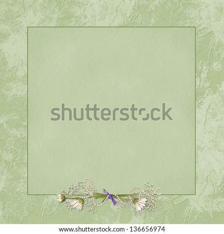daisy bouquet with ribbon and pearls on a square green embossed frame