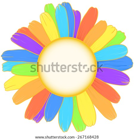 Daisy flower with rainbow petals and space for text. Raster version. - stock photo