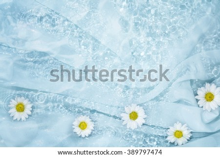 Daisy in water with soft silk - stock photo