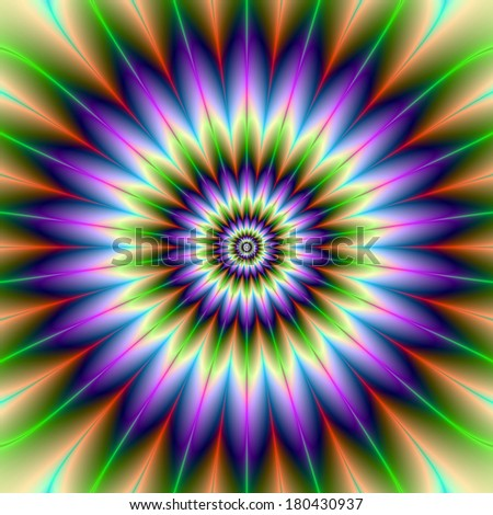 Daisy Petals / Digital abstract fractal image with a flower design in green and purple.