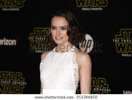 Daisy Ridley at the World premiere of 'Star Wars: The Force Awakens' held at the TCL Chinese Theatre in Hollywood, USA on December 14, 2015. - stock photo