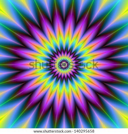 Daisy Wheel / Digital abstract fractal image with a daisy wheel design in blue, yellow and purple.