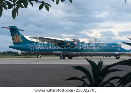 Dak Lak, August 1 2011: One ATR 72 airplane of Vietnam Airlines prepare to take off in Buon Ma Thuot Airport, Dak Lak, Viet Nam.