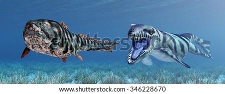 Dakosaurus attacks Dunkleosteus Computer generated 3D illustration - stock photo