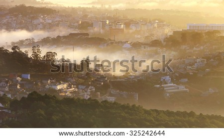 Dalat city in Central highland of Vietnam. - stock photo