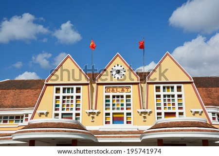 Dalat Old Railway Station, Vietnam. The station is constructed by French from 1932 to 1938 and it is the most still-existed ancient station in Vietnam.  - stock photo