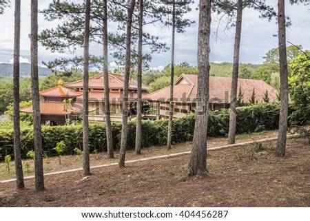 DALAT, VIETNAM - FEBRUARY 3, 2016: Truc Lam Pagoda, a buddhist Zen monastery near the city of Dalat, Vietnam. The picture shows the houses of the monchs.
