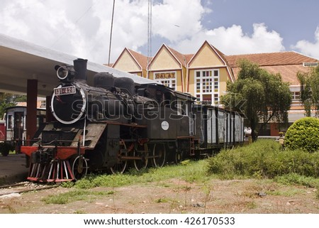 DALAT, VIETNAM - JUNE 3, 2016:Old steam engine at the old station of Dalat, Vietnam, Asia
