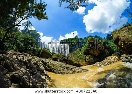 DALAT , VIETNAM May 30 2016 : Elephant Waterfall. Dalat. Vietnam. It is more than 30m high, about 15m wide