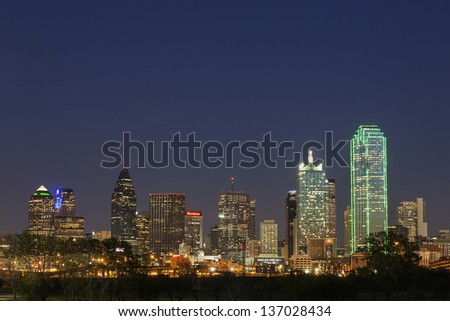 DALLAS-APRIL 1: A View of Skyline Dallas at Night on April 1, 2013 in Dallas, Texas. Dallas is the ninth most populous city in the United States and the third most populous city in the state of Texas. - stock photo