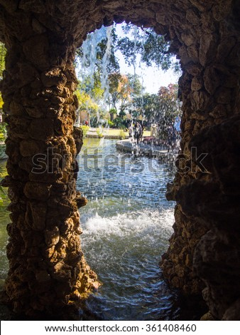 Dallas Arboretum and Botanical Garden is botanical garden located at 8617 Garland Road in East Dallas, Dallas, Texas, on the southeastern shore of White Rock Lake. - stock photo