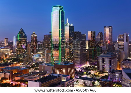 Dallas City Skyline at dusk, sunset. Dallas Texas downtown, business center. Commercial zone in big city. Dallas City view from Reunion Tower. - stock photo