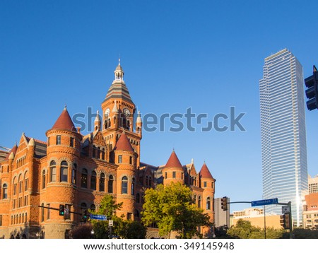 Dallas County Courthouse, built in 1892 of red sandstone rusticated marble accents, is a historic governmental building located at 100 South Houston Street in Dallas, Texas. - stock photo