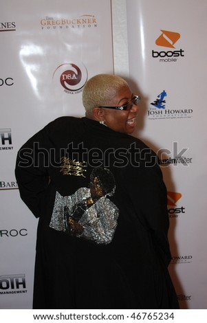 DALLAS - FEBRUARY 13: Comedienne and actress Luenell models on the red carpet at an NBA All Star Weekend event hosted by Diddy, February 13, 2010 in Dallas, Texas - stock photo