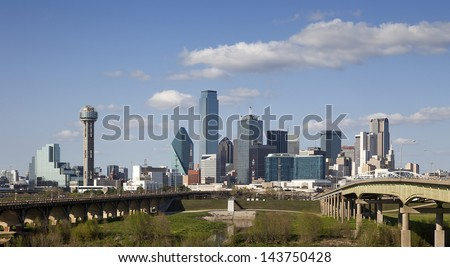 DALLAS-MARCH 31: A View of Skyline Dallas on March 31, 2013 in Dallas, Texas. Dallas is the ninth most populous city in the United States and the third most populous city in the state of Texas. - stock photo