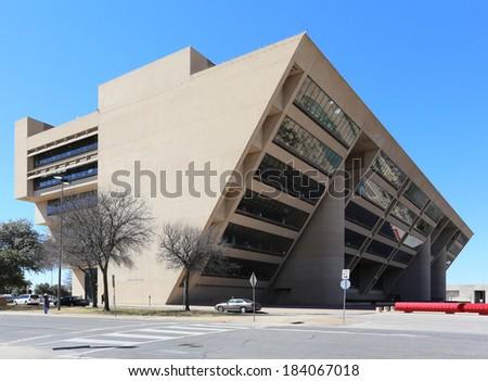 DALLAS - MARCH 13: The Dallas City Hall building on March 13, 2014. Located in downtown Dallas, Texas, The Dallas City Hall is the seat of the Dallas municipal government. - stock photo