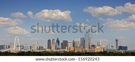 DALLAS-OCT 1: A View of Skyline Dallas at Sunny Day on Oct 1, 2013 in Dallas, Texas. Dallas is the ninth most populous city in the United States and the third most populous city in the state of Texas.