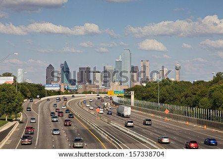 DALLAS-OCT 1: A View of Skyline Dallas at Sunny Day on Oct 1, 2013 in Dallas, Texas. Dallas is the ninth most populous city in the United States and the third most populous city in the state of Texas. - stock photo