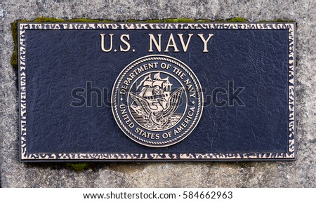 Dallas, Oregon - February 18, 2017 - Commemorative plaque honoring those who have served and veteran's of the United States Navy.