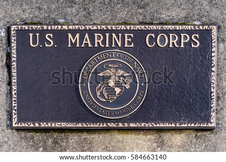 Dallas, Oregon - February 18, 2017 - Commemorative plaque honoring those who have served and veteran's of the United States Marine Corps.