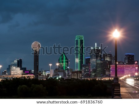 Dallas Skyline at night and stormy