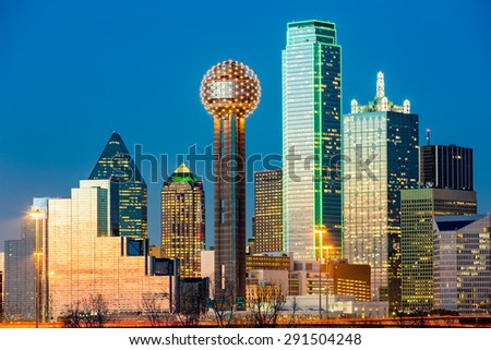 Dallas skyline at sunset - stock photo