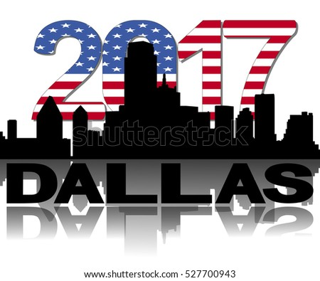 Dallas skyline 2017 flag text illustration