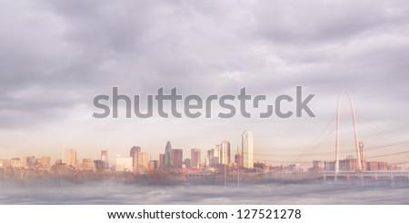 Dallas skyline in fog - stock photo
