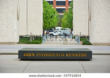 DALLAS, TEXAS- APRIL 19, 2016: Kennedy Memorial, a tribute to John Fitzgerald Kennedy