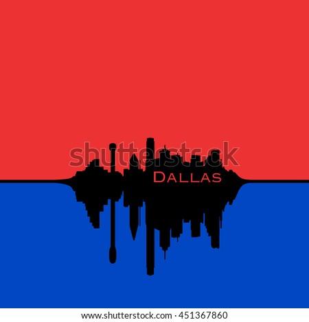 Dallas, Texas City Skyline, Red sky, blue reflection - stock photo
