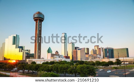 Dallas, Texas cityscape in the evening at sunset - stock photo
