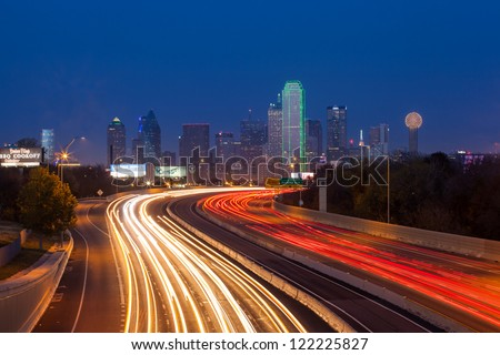 DALLAS,TEXAS - DEC 08:Dallas downtown at dusk on December 08, 2012 - Dallas is the eighth most populous city in the United States