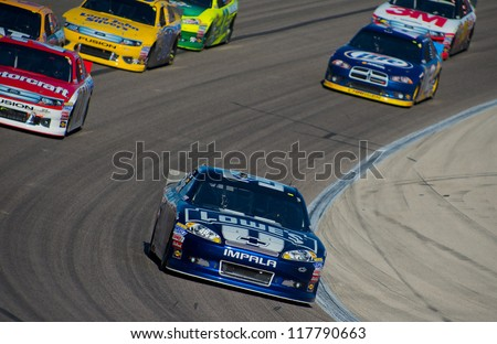 DALLAS, TX - NOVEMBER 04: Jimmie Johnson 48, leads the race at the Nascar Sprint Cup AAA Texas 500 at Texas Motorspeedway in Dallas, TX on November 04, 2012
