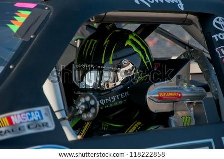 DALLAS, TX - NOVEMBER 03: Kyle Busch before the Nascar Nationwide Race at Texas Motorspeedway in Dallas, TX on November 03, 2012 - stock photo