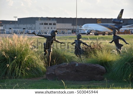 DALLAS, TX - SEP 18: Founders Observation Plaza at Dallas-Fort Worth International Airport, in Texas, on Sep 18, 2016. It is a way to experience the exhilaration of planes landing and taking off.
