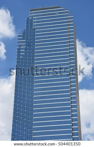 DALLAS, TX - SEP 17: The Bank of America Plaza skyscraper in Dallas, Texas, as seen on Sep 17, 2016. It is the tallest skyscraper in the city.