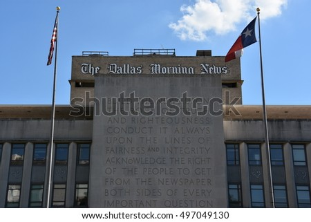 DALLAS, TX - SEP 17: The Dallas Morning News building in Texas, as seen on Sep 17, 2016. Today it has one of the 20 largest paid circulations in the United States.