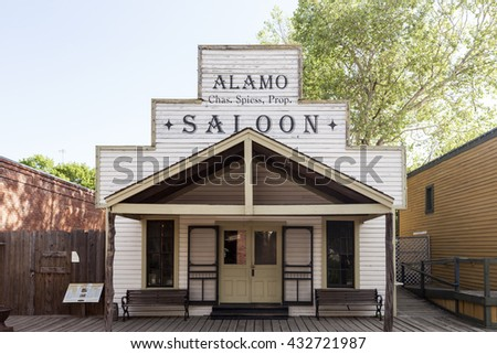 DALLAS, USA - APR 8, 2016: Historic wooden building of a Saloon in Dallas Heritage Village. Texas, United States